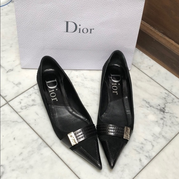 Dior Suede And Leather Pointy Toe Black
